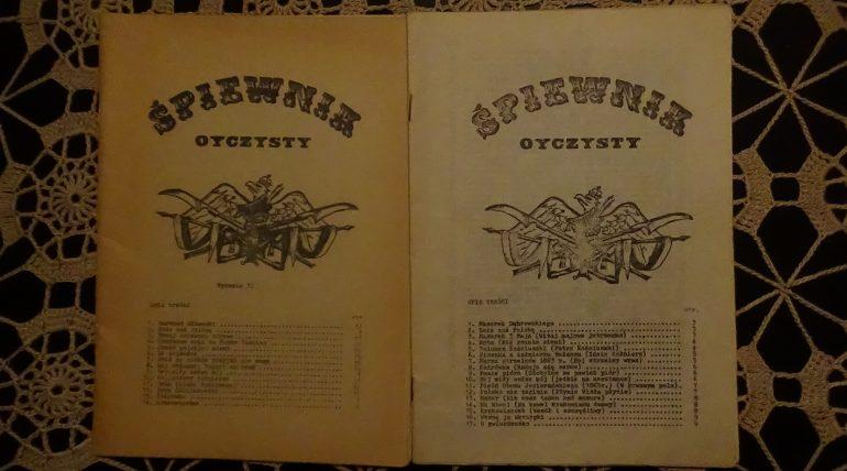 Śpiewnik Ojczysty wydanie 1 84 rok i wydanie 2 85 rok. nakład po 1000 szt. przód