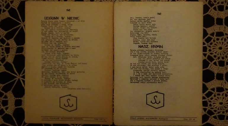 Śpiewnik Ojczysty wydanie 1 84 rok i wydanie 2 85 rok. nakład po 1000 szt. tył