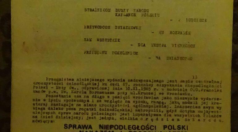 Jednoscia Silni wydanie 25.11.1985