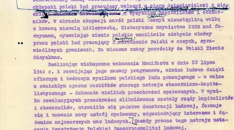 22 lipca 1952 r. – uchwalona zostaje konstytucja Polskiej Rzeczpospolitej Ludowej